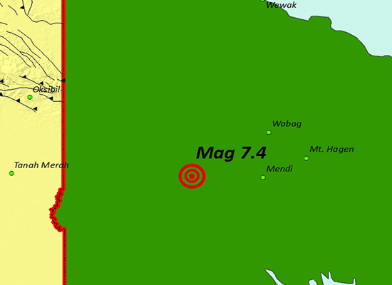 Peta Gempa Bumi Magnitudo 74 Sr Wilayah Papua Nugini Ilustrasi Bmkg Jayapura